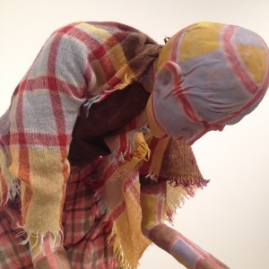 Detail from Jealous Saboteurs, featuring weaving by Lynne MacKay.