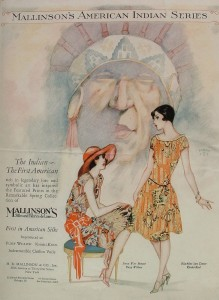 """28BBk.colorad: 1928 """"Blue Book of Silks"""" back cover. H.R. Mallinson & Co. American Indian series of printed dress silks. (Private collection)"""