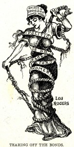 """Lou Rogers, Tearing Off the Bonds, """"Modern Woman"""" column from The Judge, c 1912-13. Source: Wikimedia Commons"""