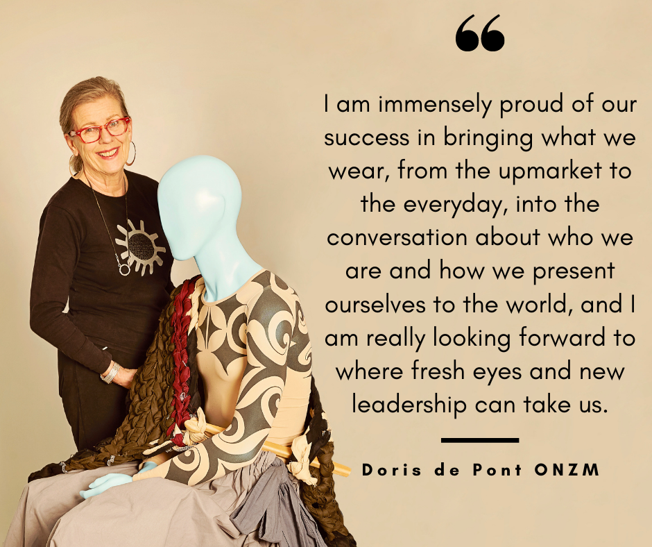 """Doris de Pont ONZM with Moana mannequin: """"I am immensely proud of our success in bringing what we wear, from the upmarket to the everyday, into the conversation about who we are and how we present ourselves to the world, and I am really looking forward to where fresh eyes and new leadership can take us."""""""